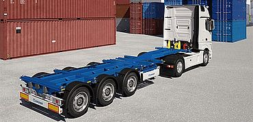 Krone container chassis eLTU 70 - Fully flexible for all container sizes