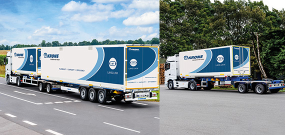 Road train combination with B-Double semitrailer and an additional semitrailer.