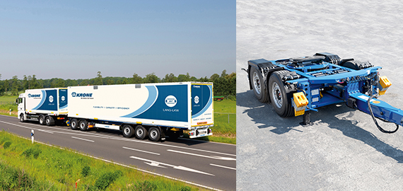 Road train combination with truck, dolly and semitrailer.