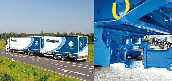 Road train combination with semitrailer and centre-axle trailer.